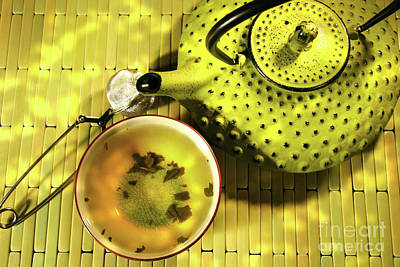 Green Asian Teapot With Cup  Art Print by Sandra Cunningham