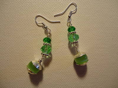 Green Ball Drop Earrings Original by Jenna Green