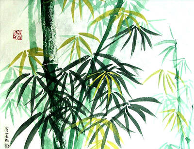 Art Print featuring the painting Green Bamboo by Alethea McKee