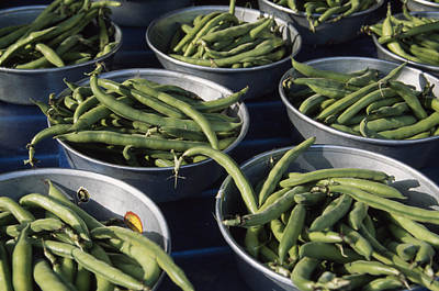 Green Beans In Tin Buckets For Sale Art Print by David Evans