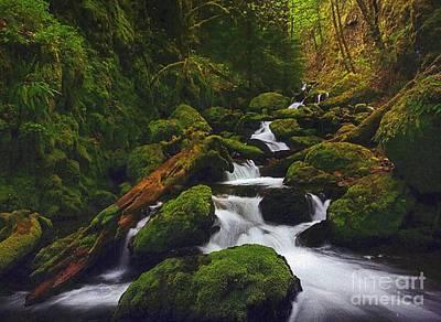 Green Canyon Cascades Art Print by Diane Kurtz
