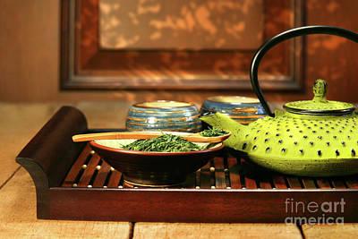 Chinese Herbs Photograph - Green Cast Iron Teapot by Sandra Cunningham