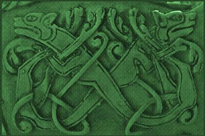 Dog Photograph - Green Celtic Dogs by LeeAnn McLaneGoetz McLaneGoetzStudioLLCcom