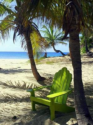 Photograph - Green Chair On The Beach by Carla Parris