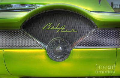 Photograph - Green Chevy Bel Air Glove Box And Clockface by Lee Dos Santos