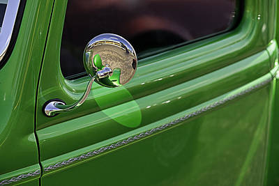 Green Classic Pickup Door Art Print by M K  Miller