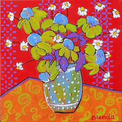 Green Daisy Bouquet Art Print by Blenda Studio