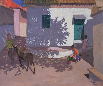 Village Life Painting - Green Door And Shadows Lesbos by Andrew Macara