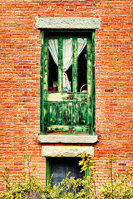Cement Photograph - Green Door by HD Connelly