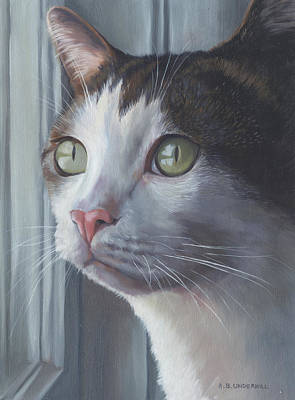 Painting - Green Eyed Cat by Alecia Underhill