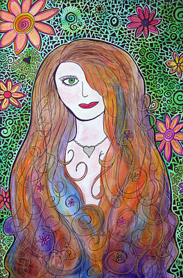 Fairy Hearts Pink Flower Painting - Green Eyed Girl by Jo Claire Hall