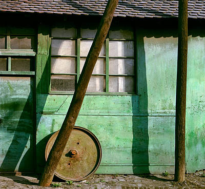 Photograph - Green Facade With Parallels Lines And Circle. Belgrade. Serbia by Juan Carlos Ferro Duque