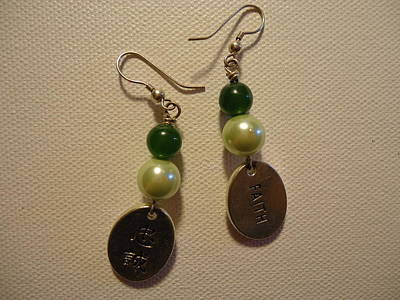 Handmade Photograph - Green Faith Earrings by Jenna Green