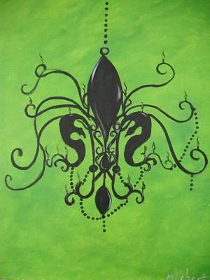 Green Fleur De Chandelier Art Print by Marian Hebert