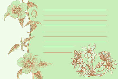 Green Floral Card Art Print