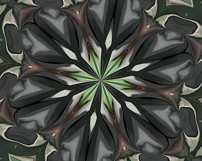 Digital Art - Green Floral Kaleidoscope by David Lane