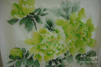 Art Print featuring the painting Green Flower ----- 001 by Dongling Sun