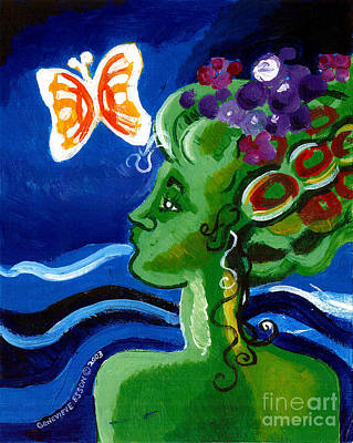 Green Girl With Butterfly Art Print by Genevieve Esson