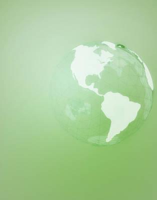 Green Globe Of The Americas Art Print by Jason Reed