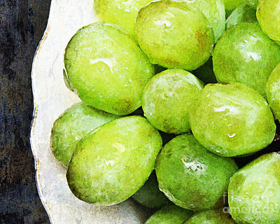 Green Grapes On A Plate Art Print by Andee Design
