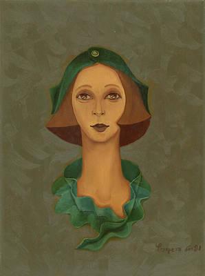 Green Hat Carre Woman Face  Art Print by Rachel Hershkovitz