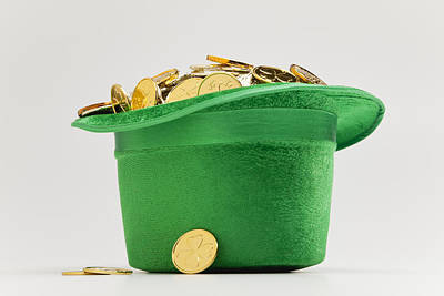 Photograph - Green Hat Filled With Golden Coins by Vstock LLC