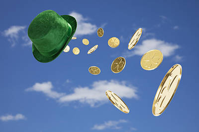 Photograph - Green Hat Sweeping Gold Coins by Vstock LLC