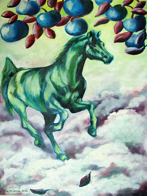 Painting - Green Horse by Gina De Gorna
