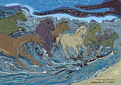 Green Horse Wave Art Print by Susie Morrison