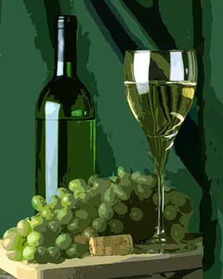 Sparkling Wines Digital Art - Green Is White by Elaine Plesser