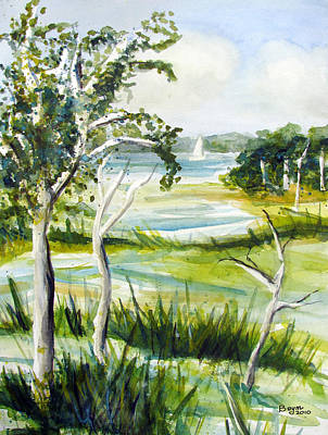 Bayville Painting - Green Land by Clara Sue Beym