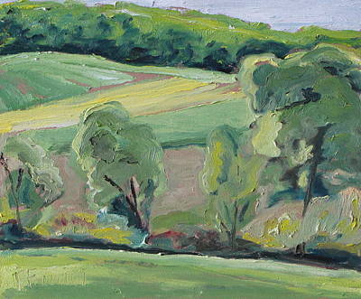 Quebec Painting - Green Land by Francois Fournier