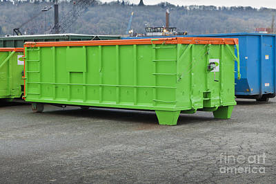 Green Metal Trash Container Art Print by Don Mason