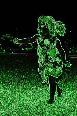 Photograph - Green Neon Girl Running In The Meadow by Sheila Kay McIntyre