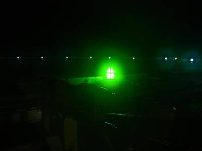 Drillship Photograph - Green Night by Sam U Sunday