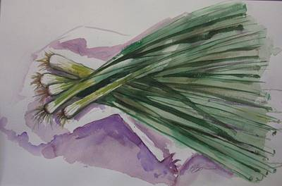 Green Onions Print by Barbara Spies
