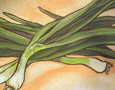 Painting - Green Onions by Sandy Tracey