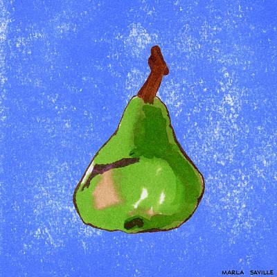 Green Pear On Blue Art Print by Marla Saville