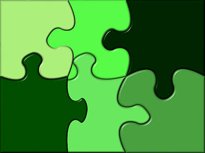 Social Relations Digital Art - Green Puzzle by Hans Engbers
