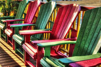 Digital Art - Green Red Green Red Green Chair by Michael Thomas