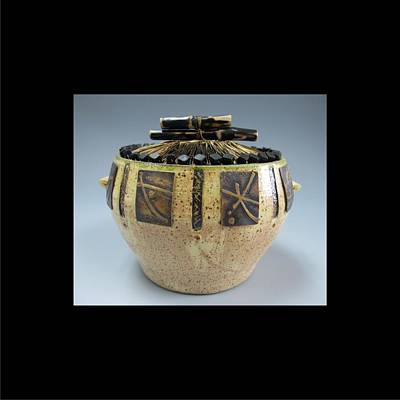 Mixed Media - Green Rim Pot by Brenda Berdnik
