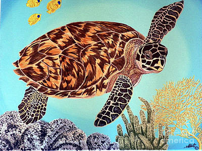 Green Seaturtle 1 Art Print by Nanci Fielder