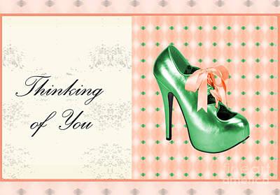 Green Shoe Thinking Of You Art Print by Maralaina Holliday