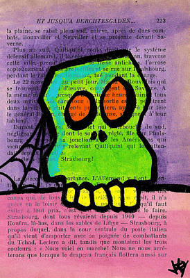 Green Skull Art Print by Jera Sky