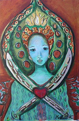 Painting - Green Tara Aka Like A River by Katie Ketchum
