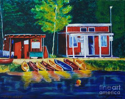 Painting - Green Valley Lake Boat House by LJ Newlin