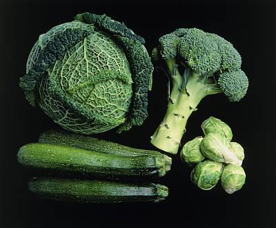 Green Vegetable Selection Art Print by Damien Lovegrove