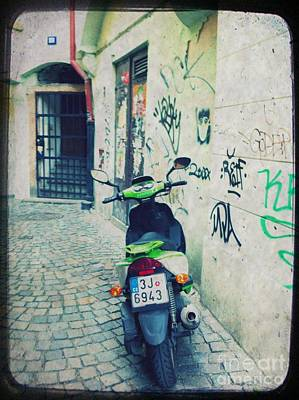 Urban Street Mixed Media - Green Vespa In Prague by Linda Woods