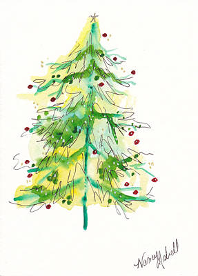 Green Watercolor Christmas Tree Original by Michele Hollister - for Nancy Asbell