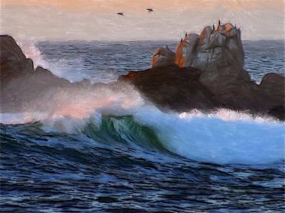 Green Waves Pastel Print by Steve K